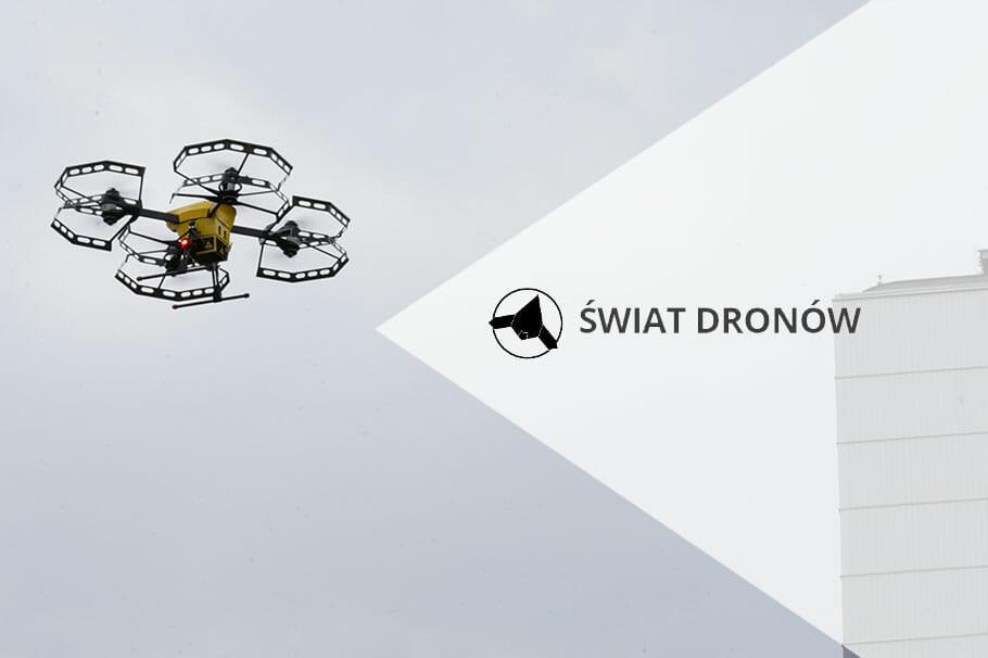 Portál Svět Dronů o letu nad Varšavou s lékařským transportem na palubě dronoidu Hermes V8MT